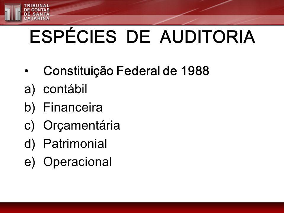 ESPÉCIES DE AUDITORIA Constituição Federal de 1988 a)contábil b)Financeira c)Orçamentária d)Patrimonial e)Operacional