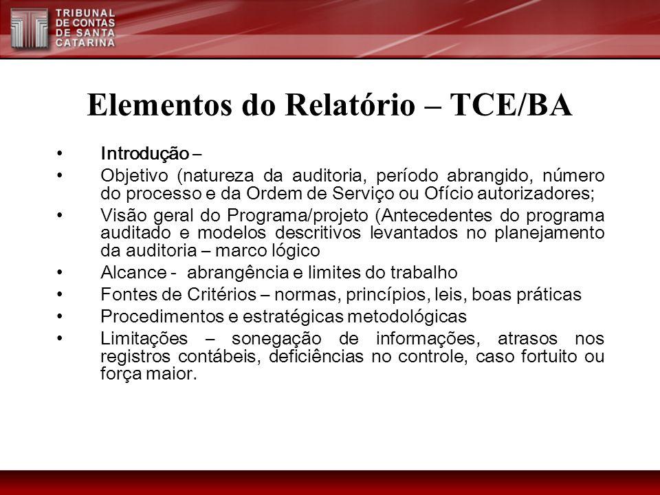Elementos do Relatório – TCE/BA Introdução – Objetivo (natureza da auditoria, período abrangido, número do processo e da Ordem de Serviço ou Ofício au