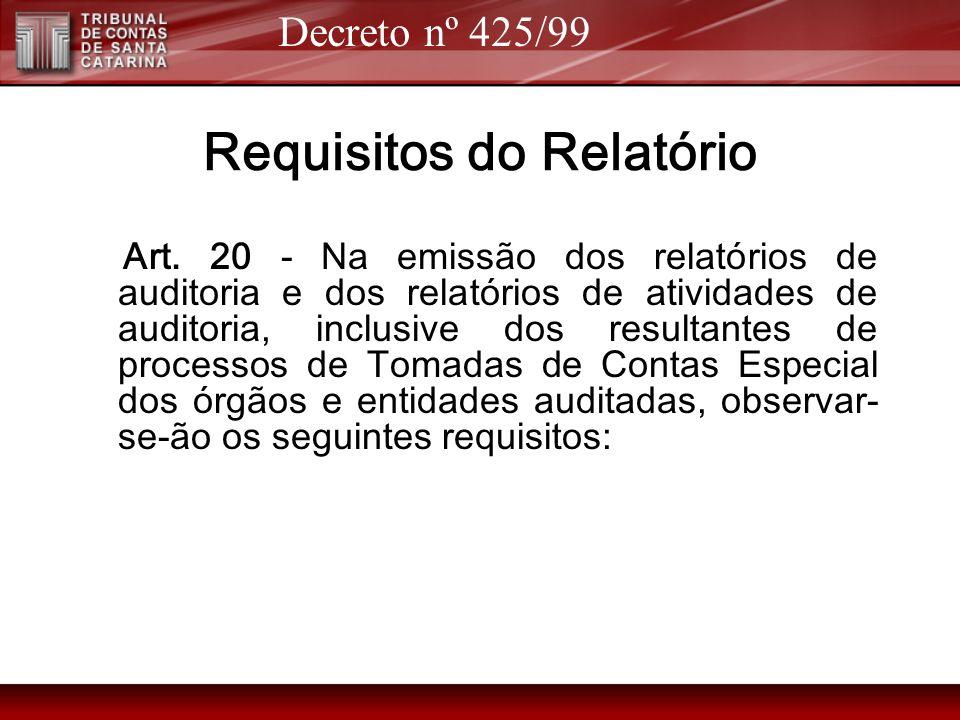 Requisitos do Relatório Art. 20 - Na emissão dos relatórios de auditoria e dos relatórios de atividades de auditoria, inclusive dos resultantes de pro