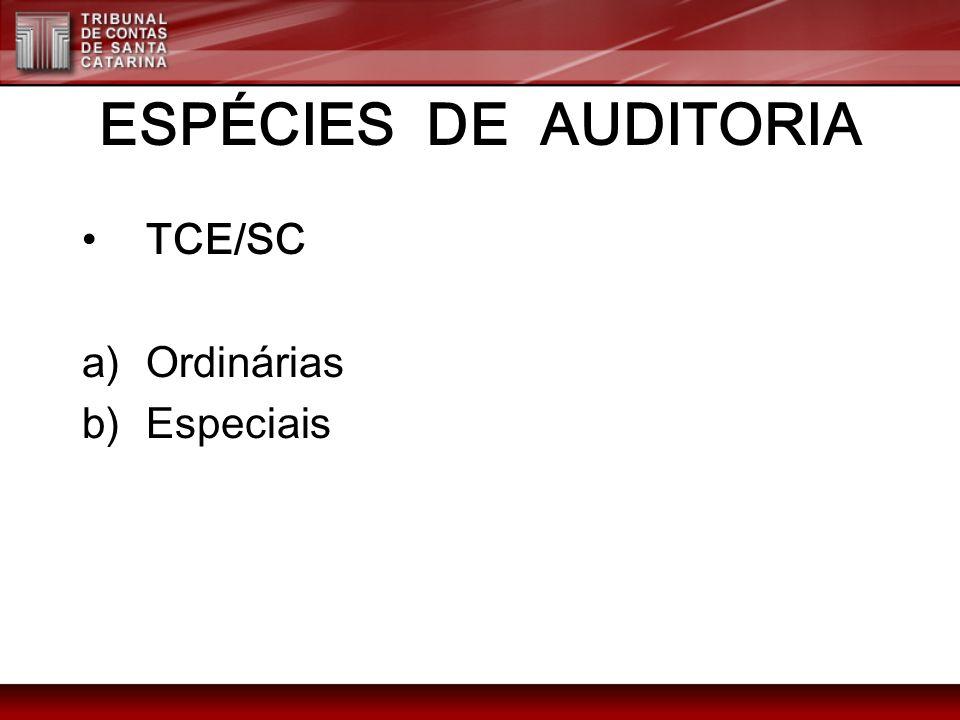 ESPÉCIES DE AUDITORIA TCE/SC a)contábil b)Financeira c)Orçamentária d)Patrimonial e)Operacional