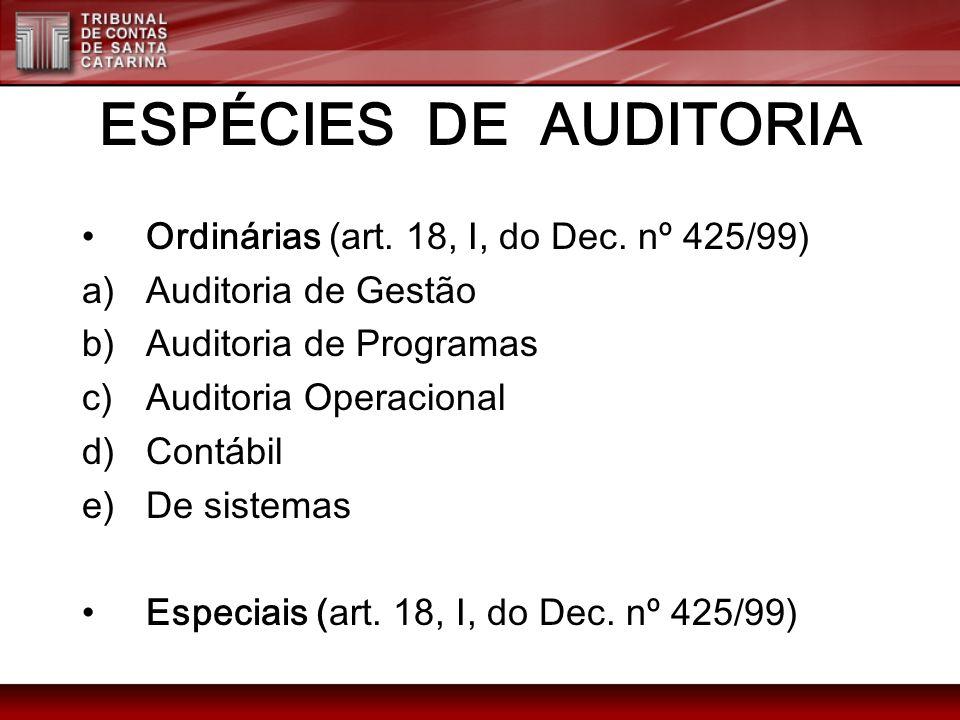 ESPÉCIES DE AUDITORIA Ordinárias (art. 18, I, do Dec. nº 425/99) a)Auditoria de Gestão b)Auditoria de Programas c)Auditoria Operacional d)Contábil e)D