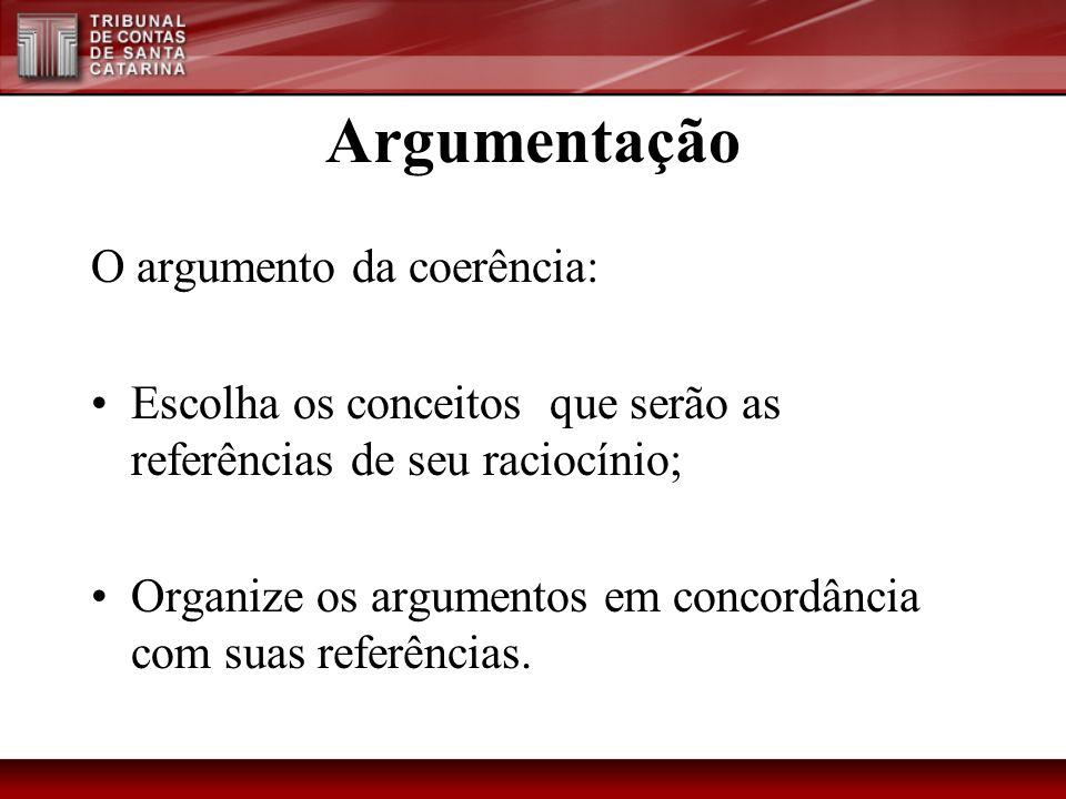 Argumentação O argumento da coerência: Escolha os conceitos que serão as referências de seu raciocínio; Organize os argumentos em concordância com sua