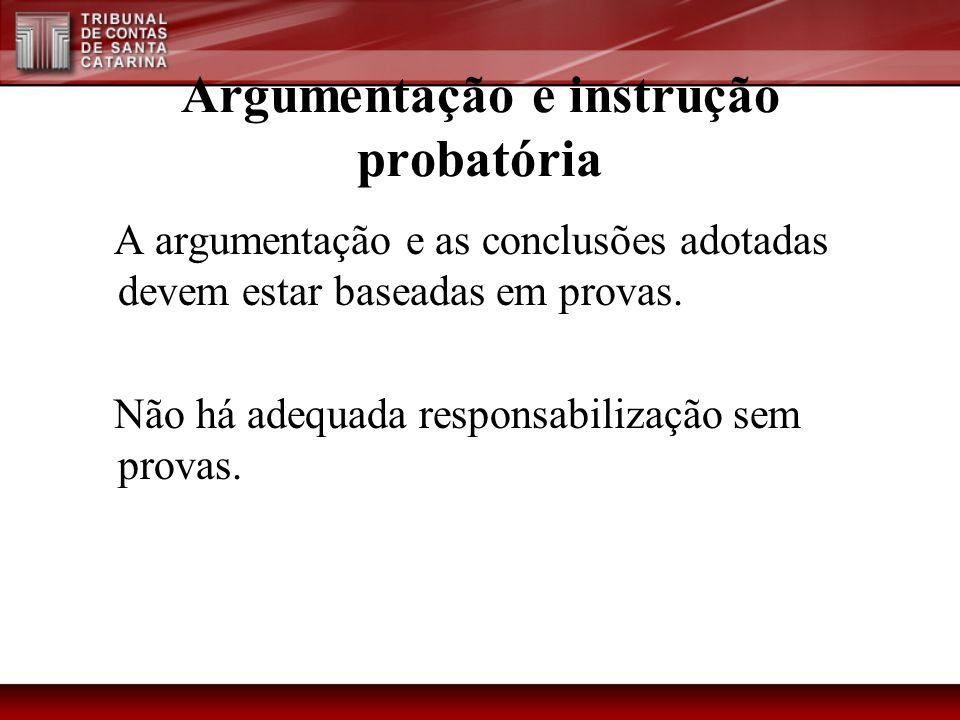 Argumentação e instrução probatória A argumentação e as conclusões adotadas devem estar baseadas em provas. Não há adequada responsabilização sem prov