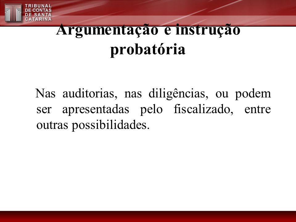 Argumentação e instrução probatória Nas auditorias, nas diligências, ou podem ser apresentadas pelo fiscalizado, entre outras possibilidades.