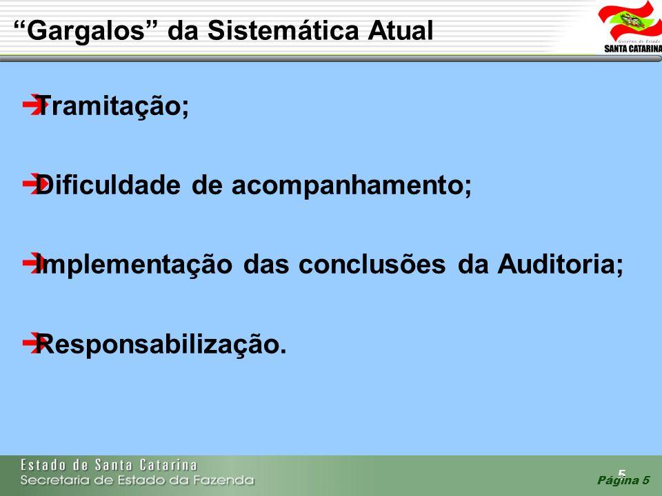 5 Página 5 Gargalos da Sistemática Atual Tramitação; Dificuldade de acompanhamento; Implementação das conclusões da Auditoria; Responsabilização.