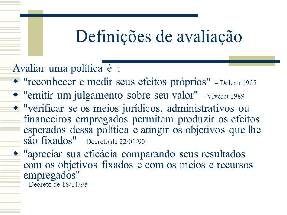 Definições de avaliação Avaliar uma política é :