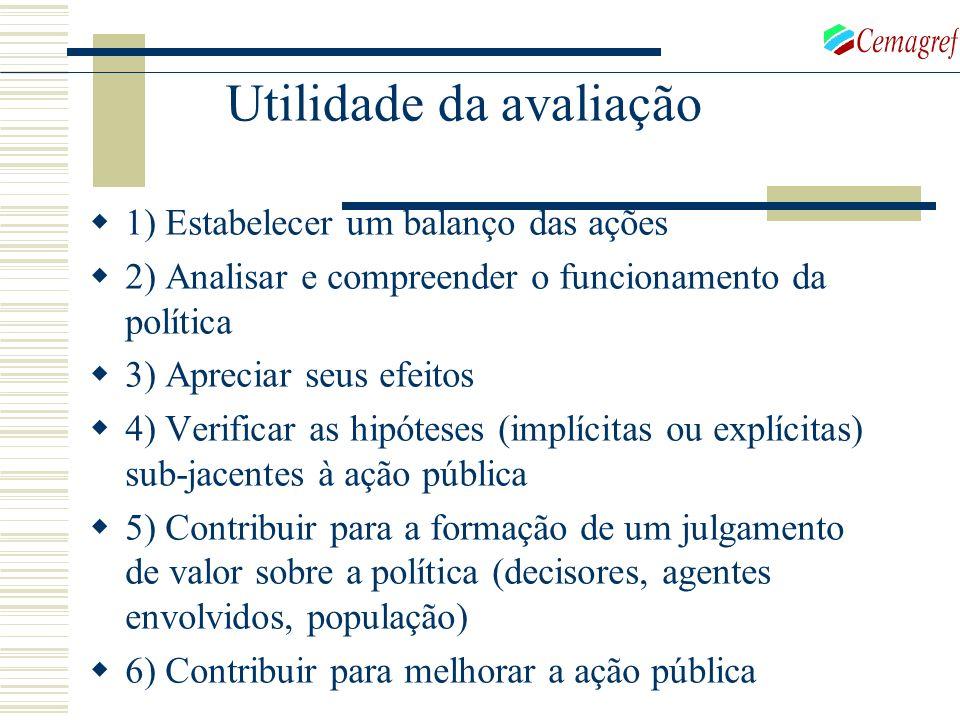 1) Estabelecer um balanço das ações 2) Analisar e compreender o funcionamento da política 3) Apreciar seus efeitos 4) Verificar as hipóteses (implícit
