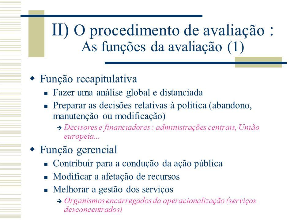 II) O procedimento de avaliação : As funções da avaliação (1) Função recapitulativa Fazer uma análise global e distanciada Preparar as decisões relati