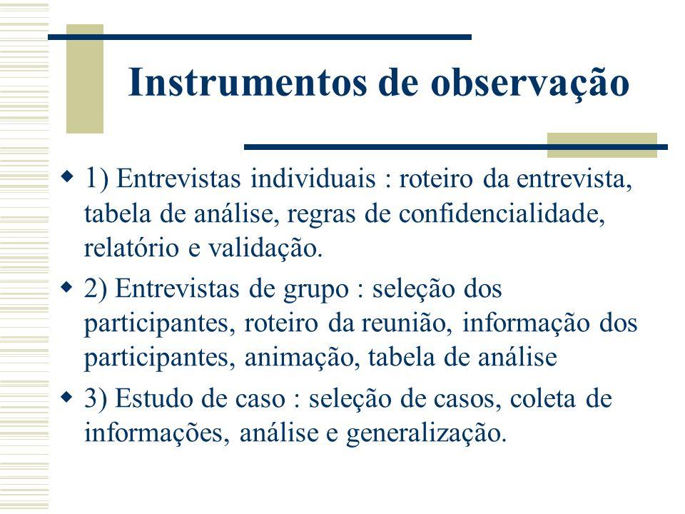 Instrumentos de observação 1 ) Entrevistas individuais : roteiro da entrevista, tabela de análise, regras de confidencialidade, relatório e validação.