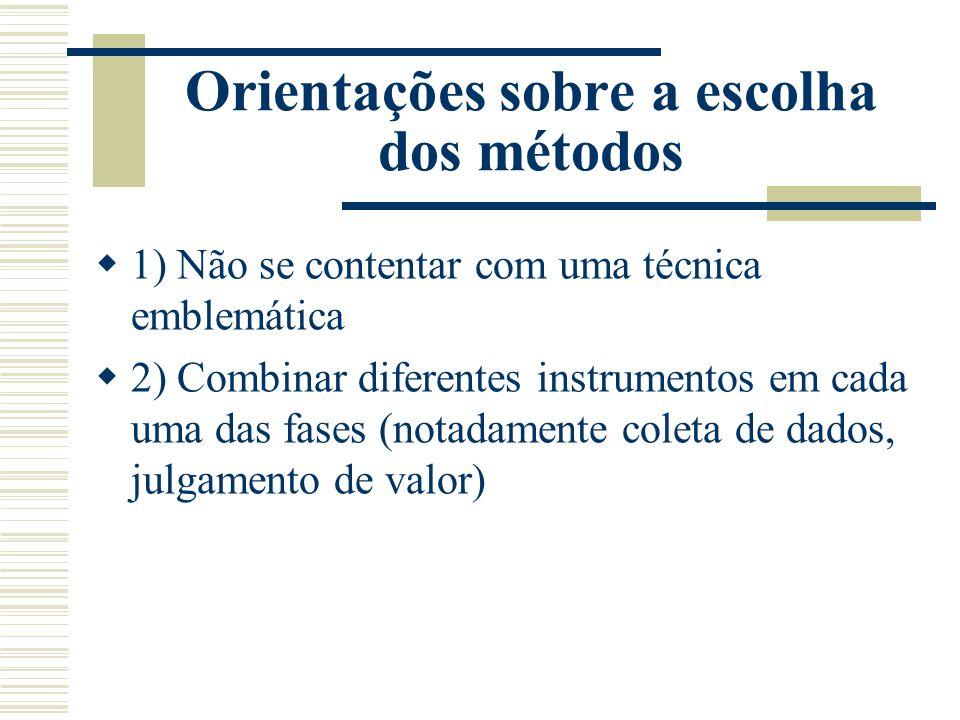Orientações sobre a escolha dos métodos 1) Não se contentar com uma técnica emblemática 2) Combinar diferentes instrumentos em cada uma das fases (not