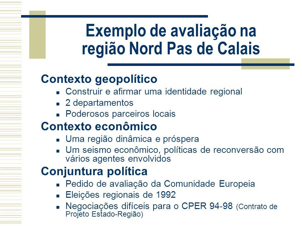 Exemplo de avaliação na região Nord Pas de Calais Contexto geopolítico Construir e afirmar uma identidade regional 2 departamentos Poderosos parceiros