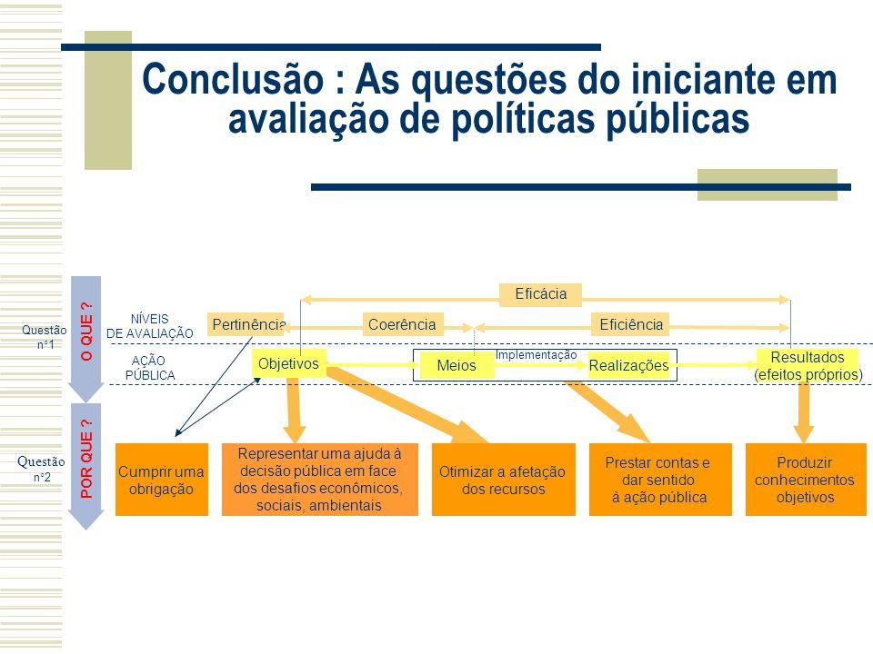Conclusão : As questões do iniciante em avaliação de políticas públicas années 2000 Produzir conhecimentos objetivos Otimizar a afetação dos recursos