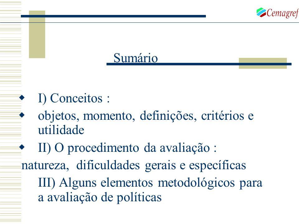 I) Conceitos : objetos, momento, definições, critérios e utilidade II) O procedimento da avaliação : natureza, dificuldades gerais e específicas III)