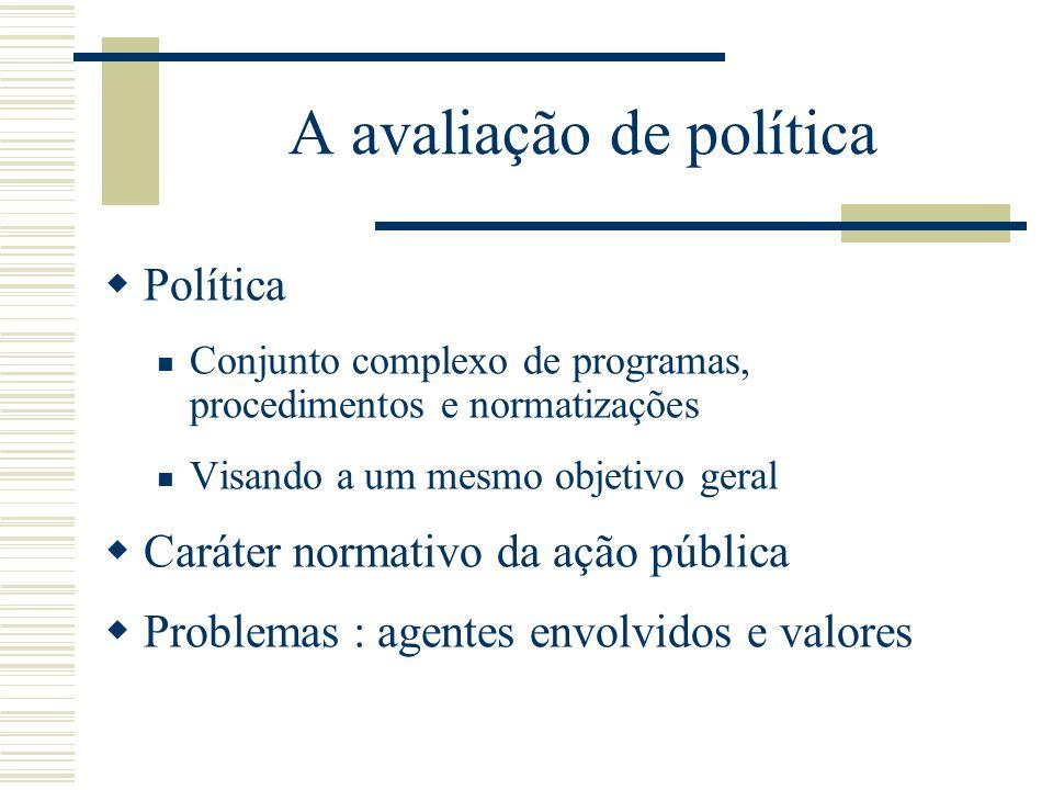 A avaliação de política Política Conjunto complexo de programas, procedimentos e normatizações Visando a um mesmo objetivo geral Caráter normativo da