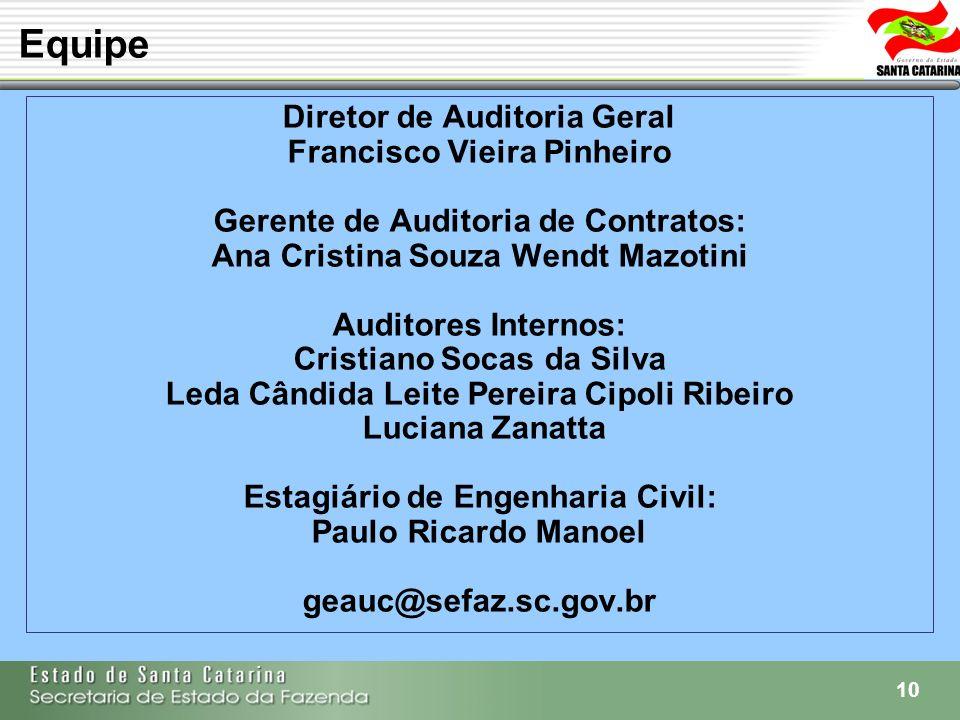 10 Diretor de Auditoria Geral Francisco Vieira Pinheiro Gerente de Auditoria de Contratos: Ana Cristina Souza Wendt Mazotini Auditores Internos: Crist