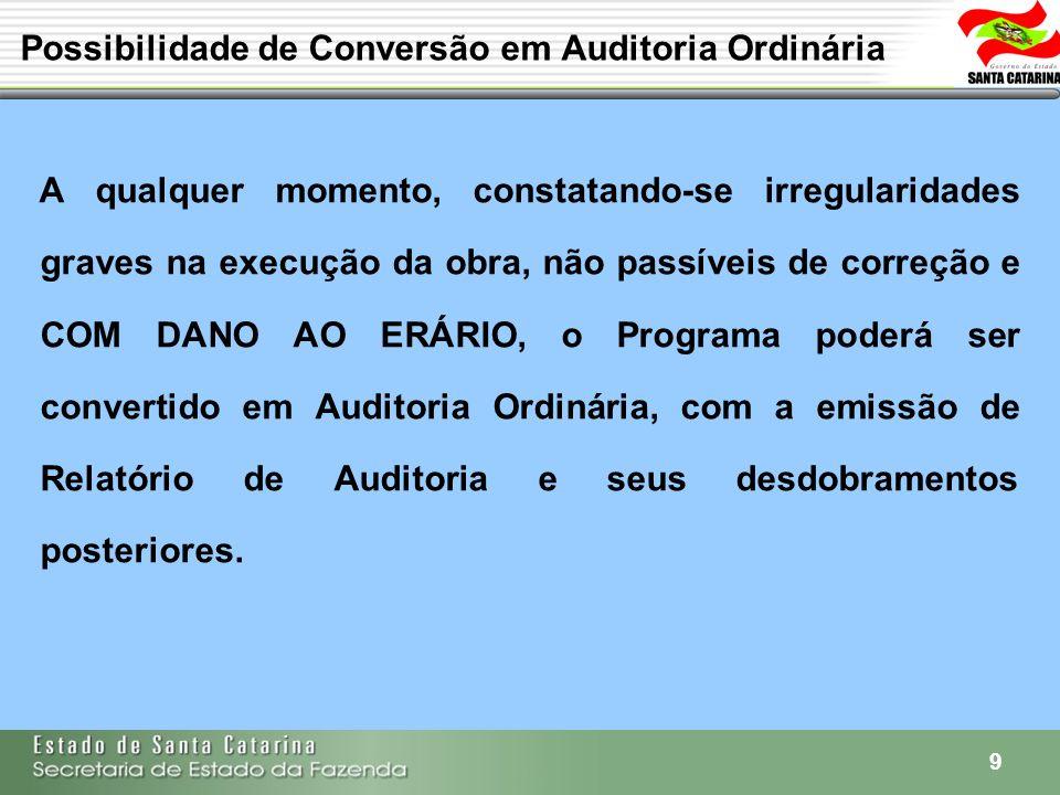 9 Possibilidade de Conversão em Auditoria Ordinária A qualquer momento, constatando-se irregularidades graves na execução da obra, não passíveis de co