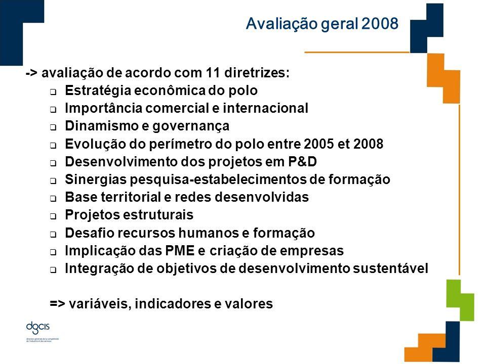 Avaliação geral 2008 -> avaliação de acordo com 11 diretrizes: Estratégia econômica do polo Importância comercial e internacional Dinamismo e governan