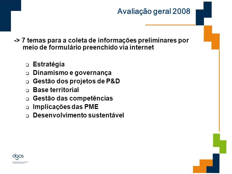 Avaliação geral 2008 -> 7 temas para a coleta de informações preliminares por meio de formulário preenchido via internet Estratégia Dinamismo e govern