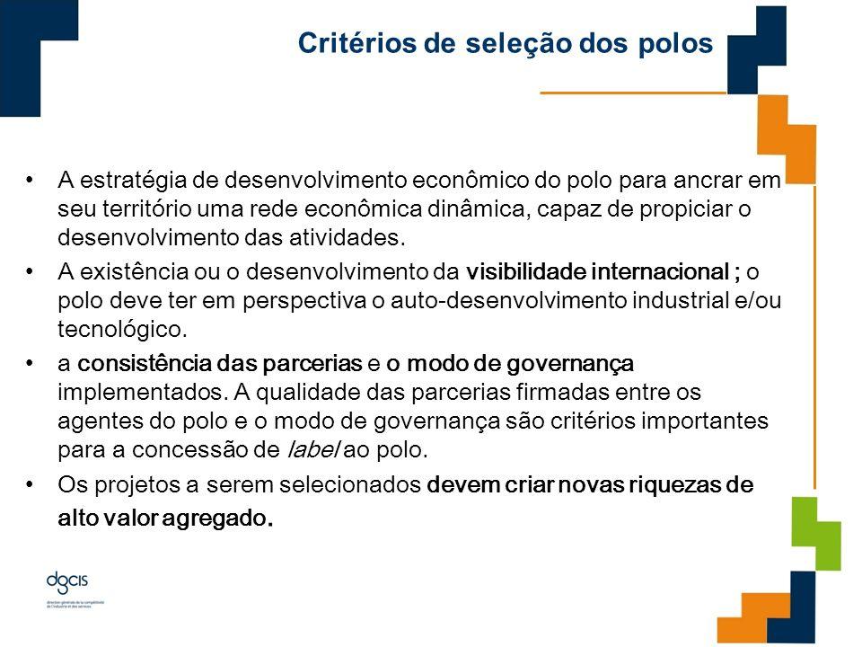 Critérios de seleção dos polos A estratégia de desenvolvimento econômico do polo para ancrar em seu território uma rede econômica dinâmica, capaz de p