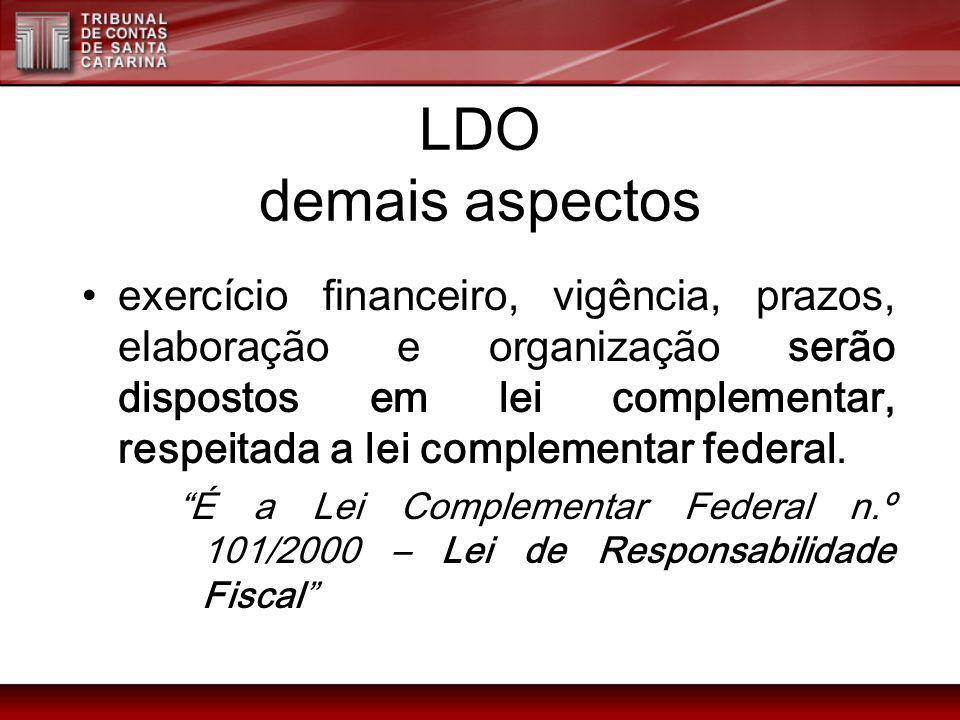 LDO demais aspectos exercício financeiro, vigência, prazos, elaboração e organização serão dispostos em lei complementar, respeitada a lei complementa