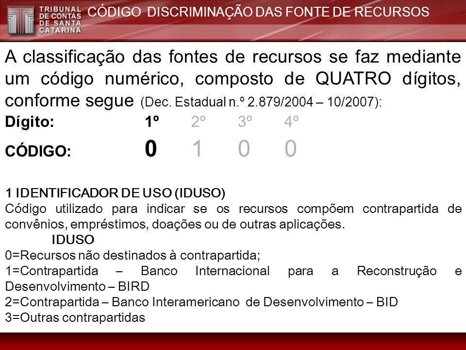 A classificação das fontes de recursos se faz mediante um código numérico, composto de QUATRO dígitos, conforme segue (Dec. Estadual n.º 2.879/2004 –