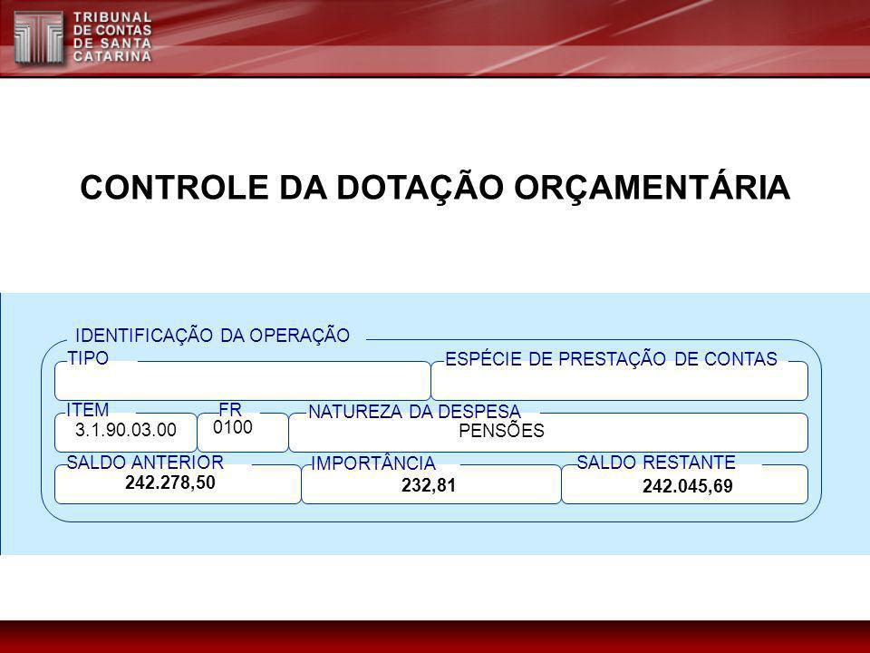 CONTROLE DA DOTAÇÃO ORÇAMENTÁRIA IDENTIFICAÇÃO DA OPERAÇÃO TIPO ESPÉCIE DE PRESTAÇÃO DE CONTAS ITEM NATUREZA DA DESPESA SALDO RESTANTE IMPORTÂNCIA FR
