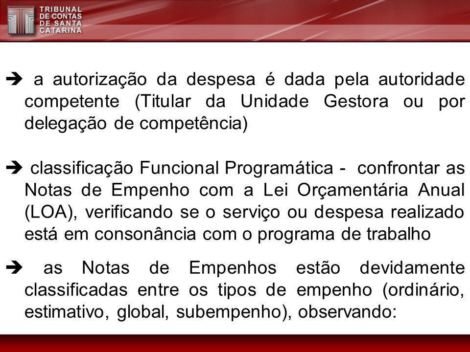 a autorização da despesa é dada pela autoridade competente (Titular da Unidade Gestora ou por delegação de competência) classificação Funcional Progra