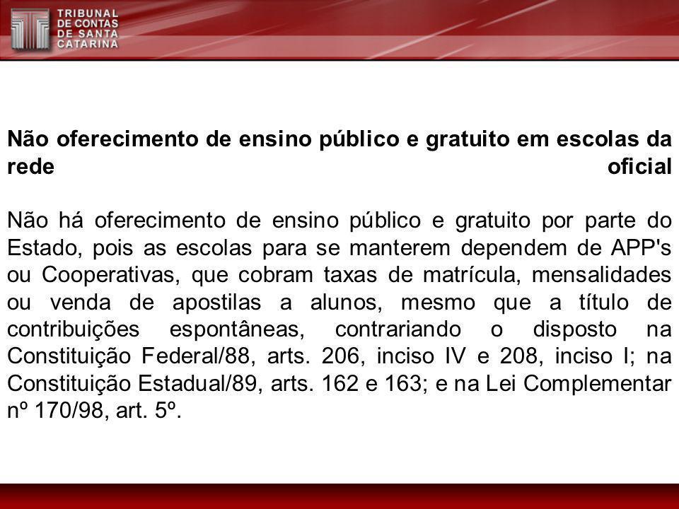 Não oferecimento de ensino público e gratuito em escolas da rede oficial Não há oferecimento de ensino público e gratuito por parte do Estado, pois as