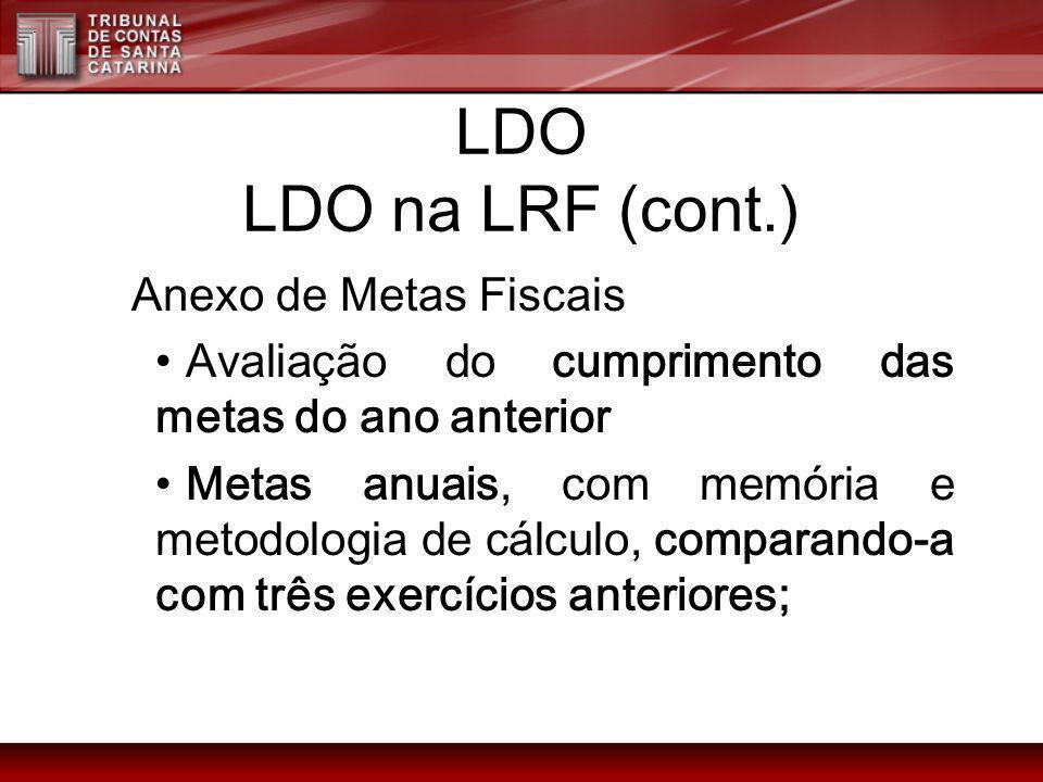 LDO LDO na LRF (cont.) Anexo de Metas Fiscais Avaliação do cumprimento das metas do ano anterior Metas anuais, com memória e metodologia de cálculo, c