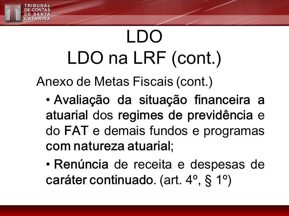LDO LDO na LRF (cont.) Anexo de Metas Fiscais (cont.) Avaliação da situação financeira a atuarial dos regimes de previdência e do FAT e demais fundos