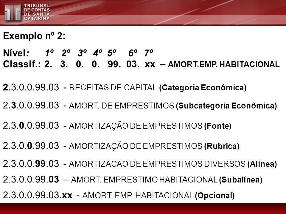Exemplo nº 2: Nível:1º 2º 3º4º 5º 6º 7º Classif.:2. 3. 0. 0. 99. 03. xx – AMORT.EMP. HABITACIONAL 2.3.0.0.99.03 - AMORT. DE EMPRESTIMOS (Subcategoria
