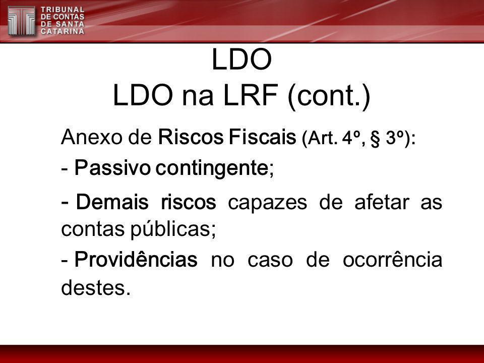 LDO LDO na LRF (cont.) Anexo de Riscos Fiscais (Art. 4º, § 3º): - Passivo contingente; - Demais riscos capazes de afetar as contas públicas; - Providê