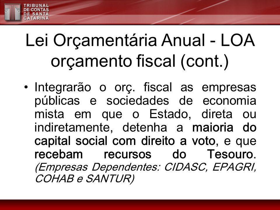 Lei Orçamentária Anual - LOA orçamento fiscal (cont.) Integrarão o orç. fiscal as empresas públicas e sociedades de economia mista em que o Estado, di