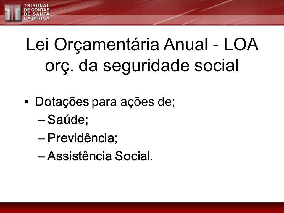 Lei Orçamentária Anual - LOA orç. da seguridade social Dotações para ações de; –Saúde; –Previdência; –Assistência Social.