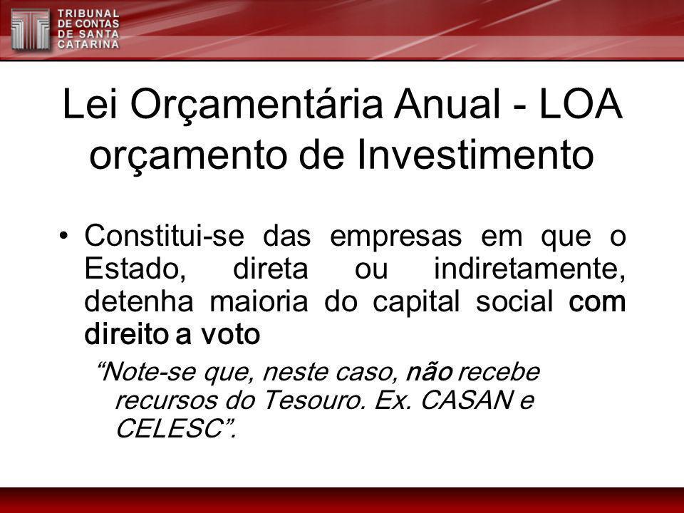 Lei Orçamentária Anual - LOA orçamento de Investimento Constitui-se das empresas em que o Estado, direta ou indiretamente, detenha maioria do capital