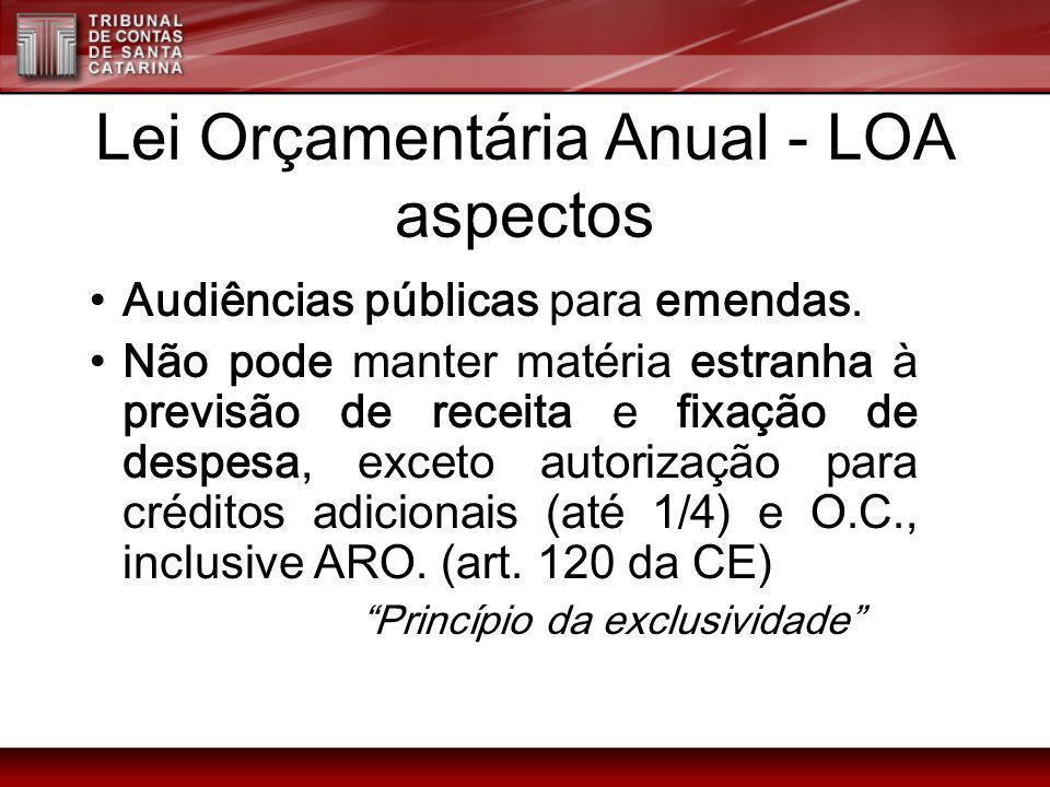 Lei Orçamentária Anual - LOA aspectos Audiências públicas para emendas. Não pode manter matéria estranha à previsão de receita e fixação de despesa, e