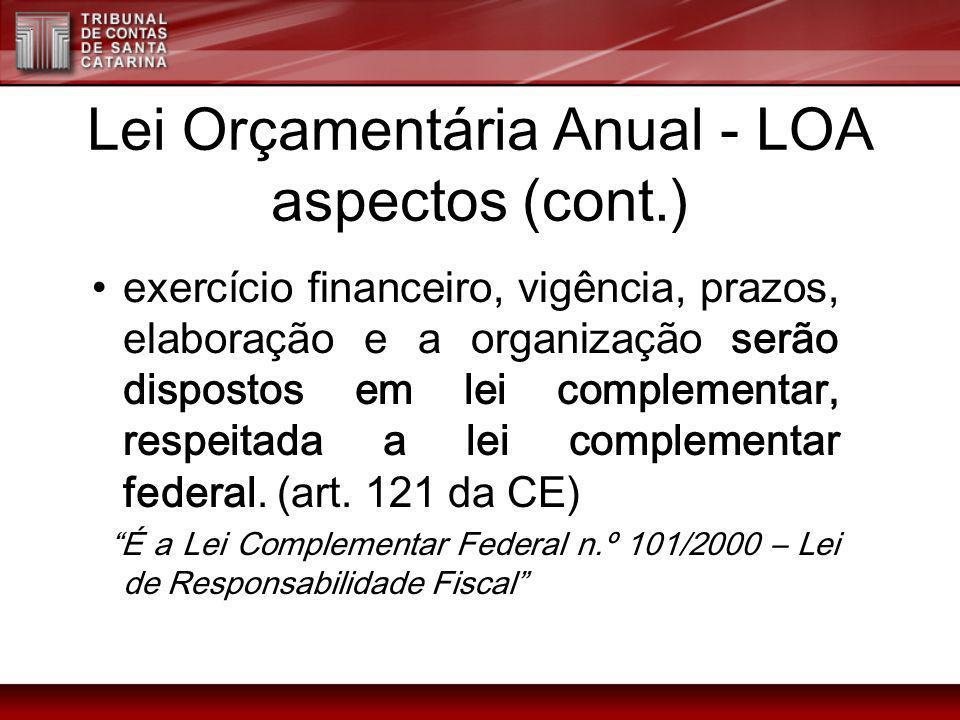 Lei Orçamentária Anual - LOA aspectos (cont.) exercício financeiro, vigência, prazos, elaboração e a organização serão dispostos em lei complementar,