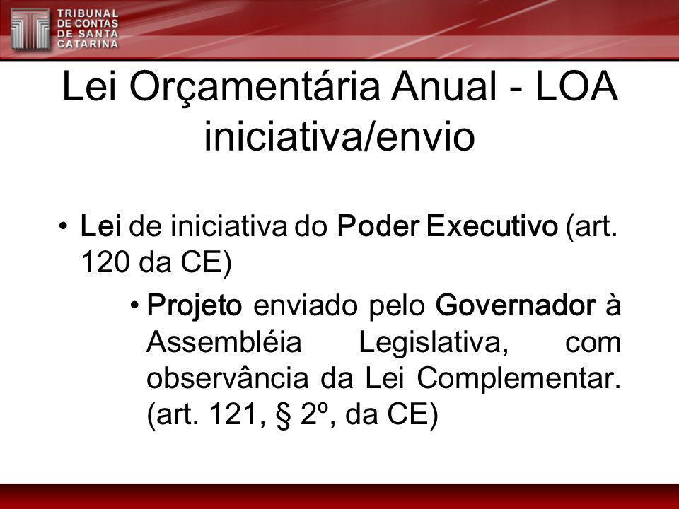 Lei Orçamentária Anual - LOA iniciativa/envio Lei de iniciativa do Poder Executivo (art. 120 da CE) Projeto enviado pelo Governador à Assembléia Legis