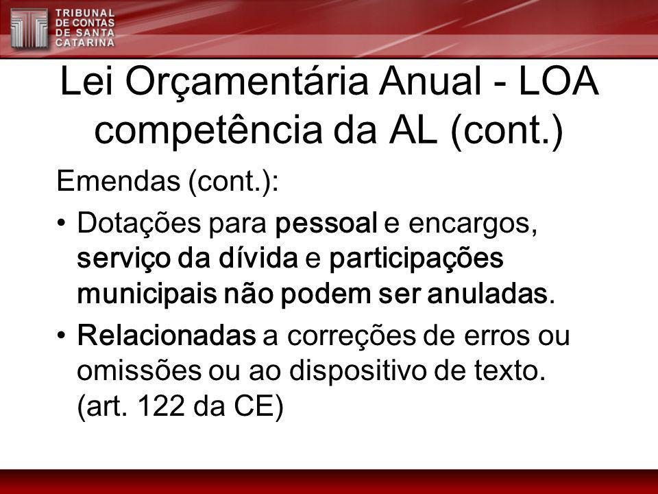 Lei Orçamentária Anual - LOA competência da AL (cont.) Emendas (cont.): Dotações para pessoal e encargos, serviço da dívida e participações municipais