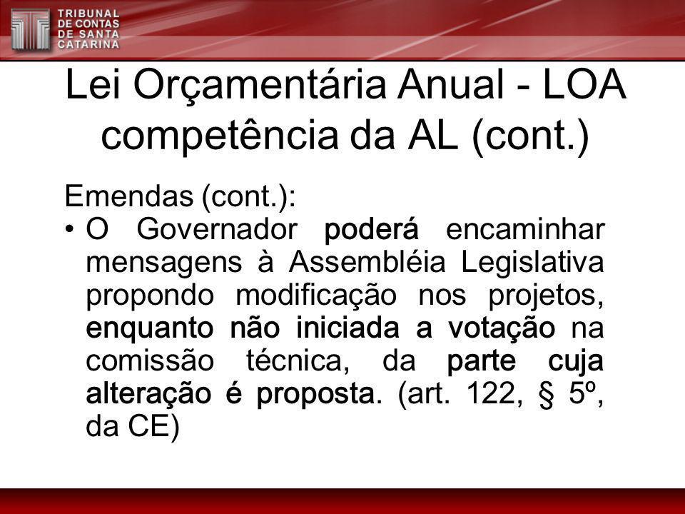 Lei Orçamentária Anual - LOA competência da AL (cont.) Emendas (cont.): O Governador poderá encaminhar mensagens à Assembléia Legislativa propondo mod