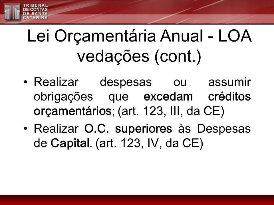 Lei Orçamentária Anual - LOA vedações (cont.) Realizar despesas ou assumir obrigações que excedam créditos orçamentários; (art. 123, III, da CE) Reali