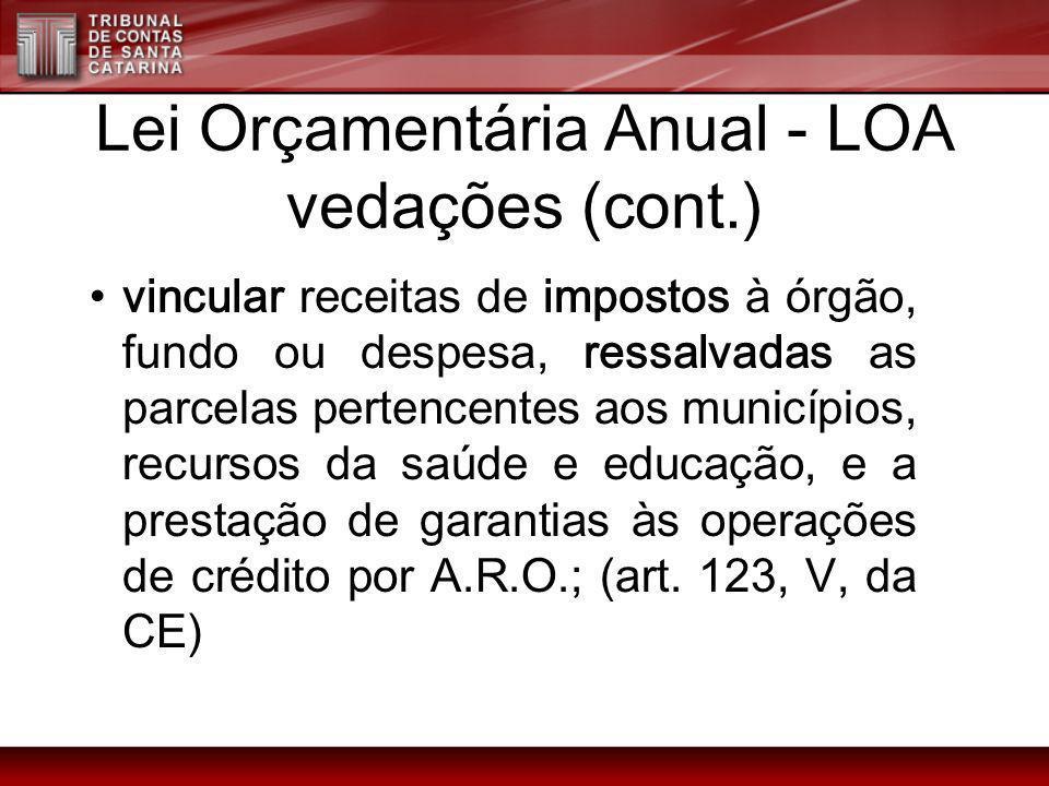Lei Orçamentária Anual - LOA vedações (cont.) vincular receitas de impostos à órgão, fundo ou despesa, ressalvadas as parcelas pertencentes aos municí
