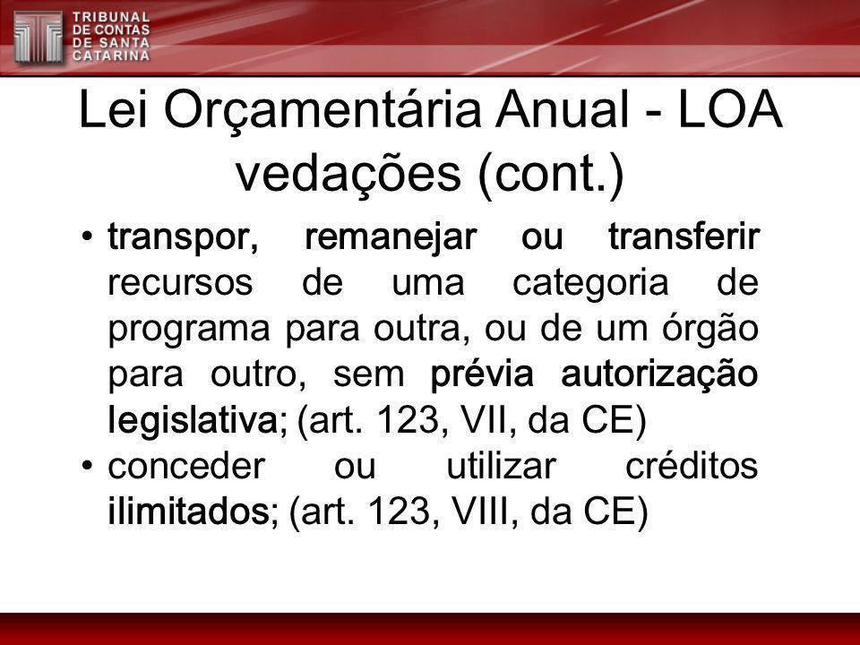 Lei Orçamentária Anual - LOA vedações (cont.) transpor, remanejar ou transferir recursos de uma categoria de programa para outra, ou de um órgão para