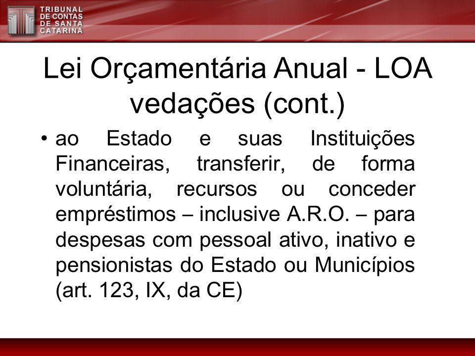 Lei Orçamentária Anual - LOA vedações (cont.) ao Estado e suas Instituições Financeiras, transferir, de forma voluntária, recursos ou conceder emprést