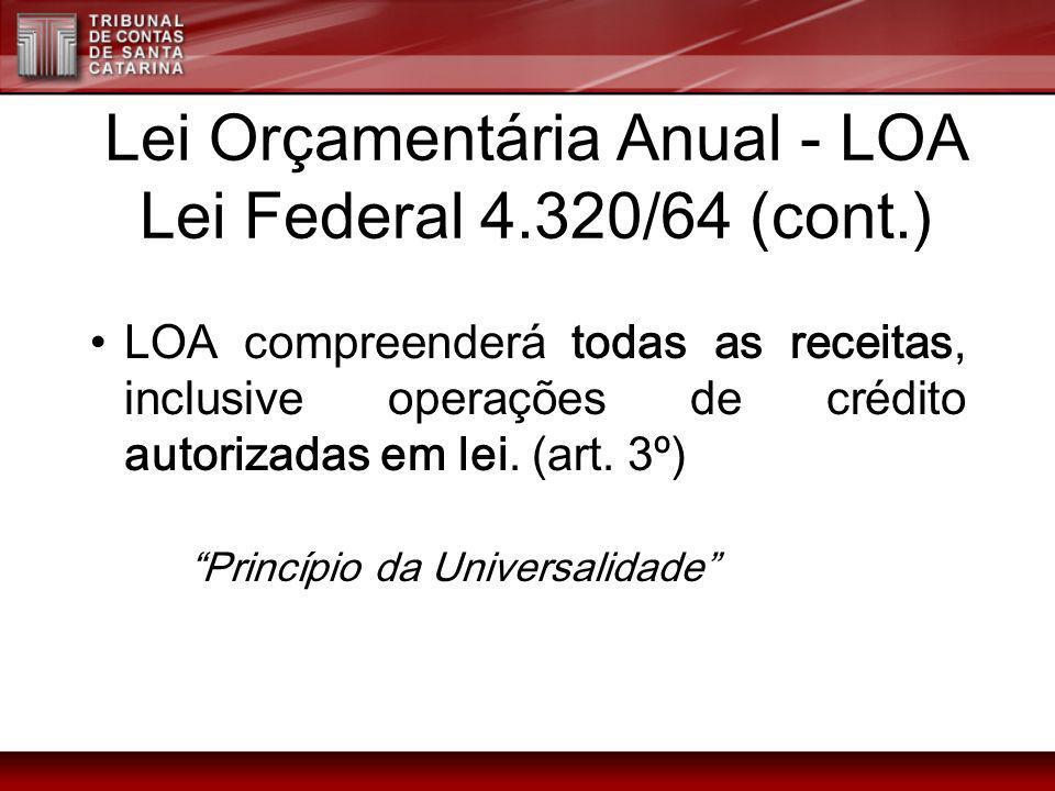 Lei Orçamentária Anual - LOA Lei Federal 4.320/64 (cont.) LOA compreenderá todas as receitas, inclusive operações de crédito autorizadas em lei. (art.