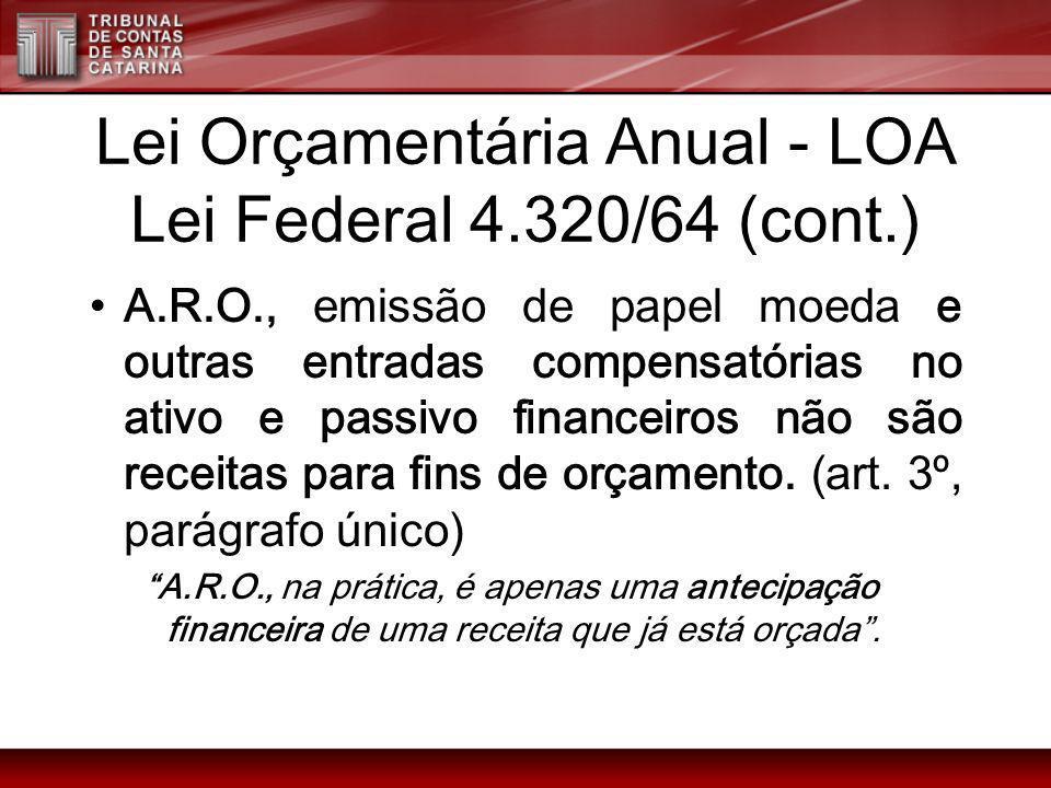 Lei Orçamentária Anual - LOA Lei Federal 4.320/64 (cont.) A.R.O., emissão de papel moeda e outras entradas compensatórias no ativo e passivo financeir