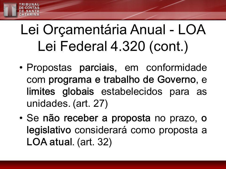 Lei Orçamentária Anual - LOA Lei Federal 4.320 (cont.) Propostas parciais, em conformidade com programa e trabalho de Governo, e limites globais estab