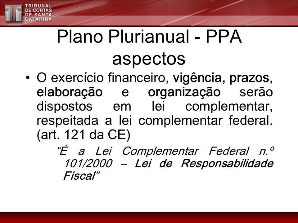 Plano Plurianual - PPA aspectos O exercício financeiro, vigência, prazos, elaboração e organização serão dispostos em lei complementar, respeitada a l