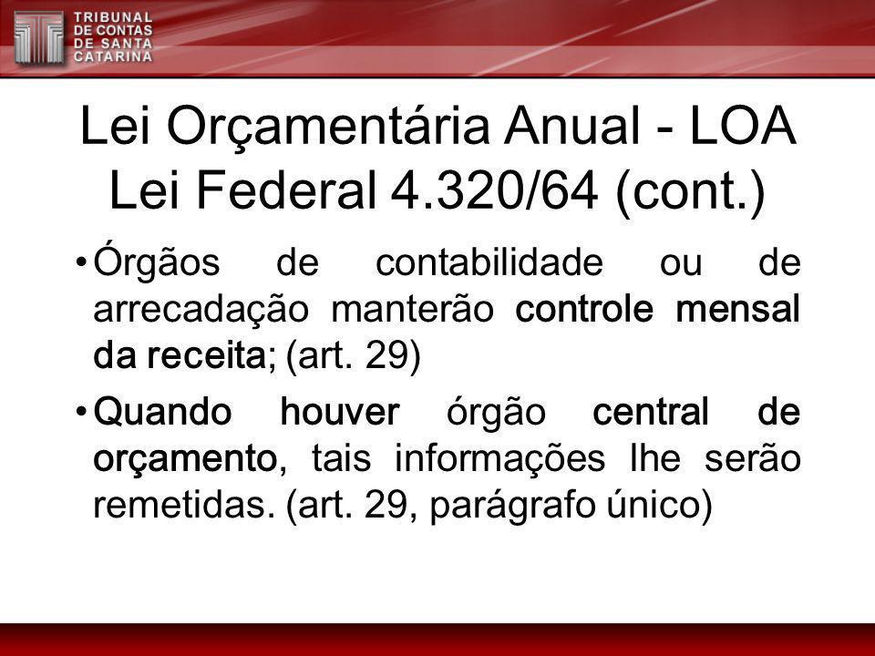 Lei Orçamentária Anual - LOA Lei Federal 4.320/64 (cont.) Órgãos de contabilidade ou de arrecadação manterão controle mensal da receita; (art. 29) Qua