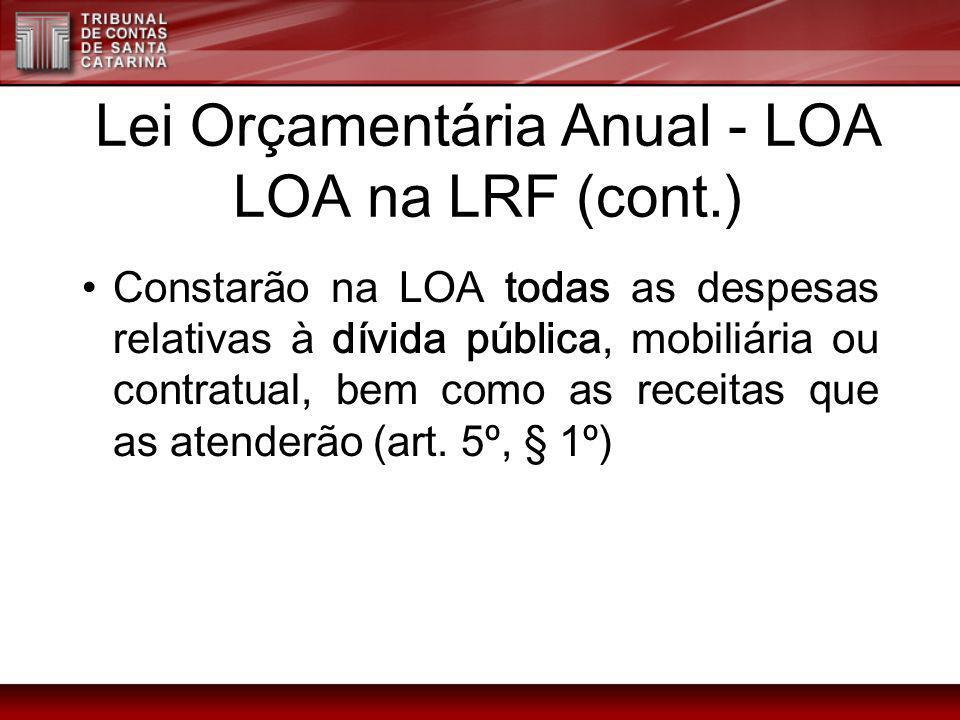 Lei Orçamentária Anual - LOA LOA na LRF (cont.) Constarão na LOA todas as despesas relativas à dívida pública, mobiliária ou contratual, bem como as r
